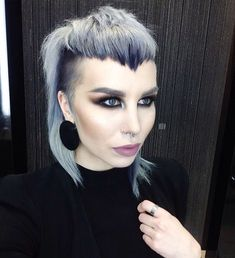 This hair!! Navy root,silver length with widows peak fringe & pulled back hair line @kayleighharoberts on instagram