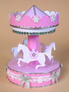 Card Craft / Card Making Templates for Opening Carousel by Card Carousel Carousel Cake, Carousel Party, Carousel Musical, My Little Pony Baby, Vintage My Little Pony, Paper Toys, Paper Crafts, Diy And Crafts, Circus Birthday