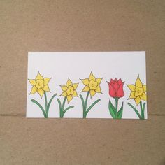 One of these things is not like the others... #illustration #daffodil #tulip #flowers #sketch #drawing #tinycanvas #businesscardart #bicmarkit