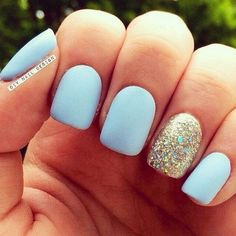 Baby Blue and Gold Glitter Matte Manicure Design.
