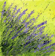 More Splattered Paint Flower Art: Tips and new ideas- Lavender-myflowerjournal.com