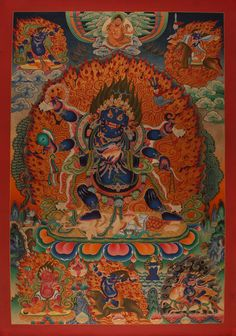 Thangka Mahakala . Prächtiger Thangka des Chadbhuja Mahakala (Gonpo Chagdrugpa) - A Thangka of Chadbhuja Mahakala. Buddhistische Thangkas, Statuen und Mandalas. Marvelous buddhist Statues, Mandala and Thangka from Snow Lion