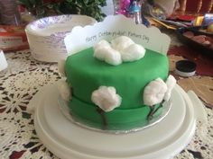 """""""Happy Cotton-Pickin' Father's Day"""" cake for my grandfather-in-law who picked cotton in his youth."""