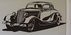 34 Ford 5 Window Coupe Vinyl Wall Decal Graphic by mojographics