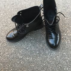 Black combat boots Size 11 Worn once for an hour. No scuffs. Super stylish and in style. All black faux patent leather look. Size 10. Offers only through offer button. Forever 21 Shoes Lace Up Boots