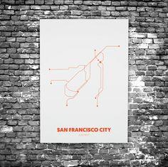 San Francisco C3 - Acrylic Glass Art Subway Maps (Acrylglas, Underground)
