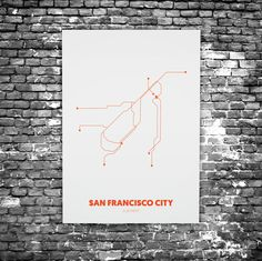 San Francisco C3 - Acrylic Glass Art Subway Maps (Acrylglas, Underground)