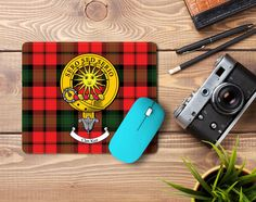 Rubber mousemat with Kerr clan crest and tartan - only from ScotClans