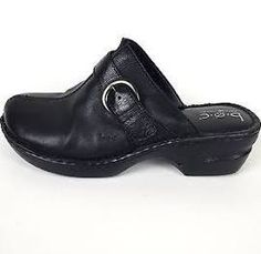Clothing, Shoes & Accessories Brilliant Born Black Leather Wedge Heel Slip On Mules Shoes Sz 9 Women's Shoes
