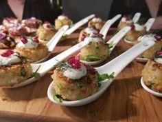 Mini crab cakes #bin46bar Mini Crab Cakes, Bar, Chicken, Food, Meals, Cubs