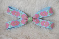 Baby Blue, Pink Hearts with Green Accent Bow Hair Clip via Etsy
