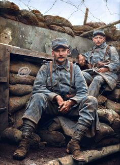 French troops in a captured German trench during the Battle of the Somme, July 1916.