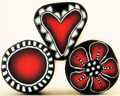 REDS Heart Flower and Circle Polymer Clay Mini Canes by ikandiclay