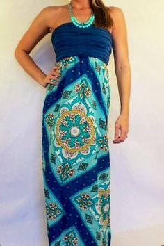 $34.95 Maxi Dress Vintage Blue Multi - Kelly Brett Boutique