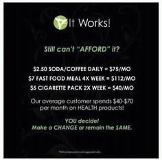 It Works products are totally affordable! Just give up one bad thing each day and it will cover the cost!!!