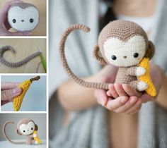 I'm not very skilled at amigurumi but this is worth a try! Crochet Kiko the kawaii baby monkey just in time for Lunar New Year! Detailed step-by-step tutorial & FREE PATTERN available! Crochet Diy, Crochet Amigurumi, Amigurumi Patterns, Crochet Crafts, Crochet Dolls, Yarn Crafts, Crochet Projects, Crochet Patterns, Crochet Monkey Pattern