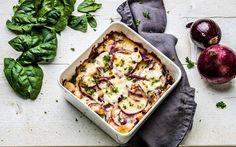 Zalmlasagne met witte kaas, courgette en spinazie