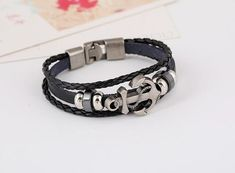 Anchor Alloy Leather Bracelet