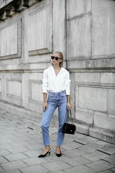 i just want to be chic Jean Outfits, Fashion Outfits, Women's Fashion, Saint Laurent Shirt, Scandi Style, Gina Tricot, Clothes Horse, Everyday Fashion, Mom Jeans