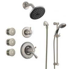 View the Delta DSS-Lahara-17T03 TempAssure 17T Series Thermostatic Shower System with Integrated Volume Control, Shower Head, 3 Body Sprays and Hand Shower - Includes Rough-In Valves at FaucetDirect.com.