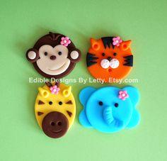 12 Edible Fondant Jungle Animals Cupcake Toppers - Monkey, Tiger, Giraffe & Elephant