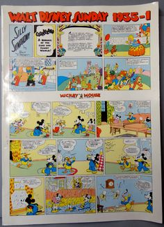 Walt Disney Sunday Silly Symphony Vol 1 1935 Floyd Gottfredson MICKEY MOUSE Donald Duck In ITALIAN Color Comic Strip Reprint by QualityComicsAmerica on Etsy https://www.etsy.com/listing/226315859/walt-disney-sunday-silly-symphony-vol-1