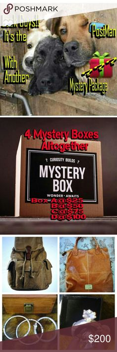 📦🎁MYSTERY BOXES🎁$adjusted when picked I A Creating 4 Mystery Boxes??? Which Means You are likely to get Just about anything that's Posted and some itemes that mey Not have made it to my Posh Closet Yet-That's Why It's A Mystery. Box A..$25 Box B...$50 Box C...$50 & Box D...$100... When you choose your Box Please Specify M/F or Mix it up. Also  📦A..can pick 1 item of their choice 👇$20 🎁B...1 item 👇$35 📦C...1item 👇 $45 Or 2👇$20 🎁D... 1 item 👇80 or 2 👇$40. Your item is added to the…