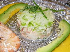 Tartare crevette, saumon et pommes vertes.