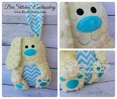 5 sizes, 4x4 5x7 6x10 7x10 and 8x12. Super cute and easy to personalize. This rabbit is stitched in 3 hoopings and fully assembled in the hoop. Comes