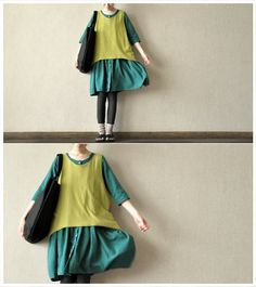 cotton green dress / women cotton loose formal skirt by Aolo