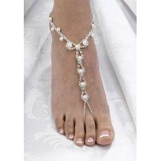 Set juwelen voor de voeten van de bruid