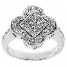0.70 Cttw F SI Round and Princess Cut Diamonds Cocktail Ring in 14K White Gold by GetDiamondsDirect on Etsy