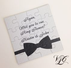 """Thanks for the kind words! ★★★★★ """"Absolutely loved this! So fun for the kids :) """" kcasey25 http://etsy.me/2C1trsS #etsy #weddings #invitation #ringbearercard #ringbearerpuzzle #puzzleinvitation #askringbearer #puzzleproposal #rusticwedding #groomsmaninvitation"""