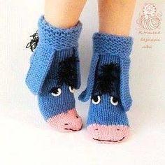 Eeyore knitted socks the donkey from Winnie the Pooh! Warm socks Eeyore knitted socks the donkey from Winnie the Pooh! Knitted Slippers, Wool Socks, Slipper Socks, Crochet Slippers, Knitting Socks, Baby Knitting, Crochet Gifts, Crochet Baby, Knit Crochet