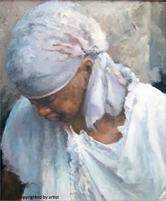 """Look at the soft edges and the colors of the white garment! Very well achieved in this oil painting by Lawrence Rudolech from Indiana. """"Richmond Rein Actor"""" is the name of this 24x20 artwork accepted into our past NOAPS Exhibit."""