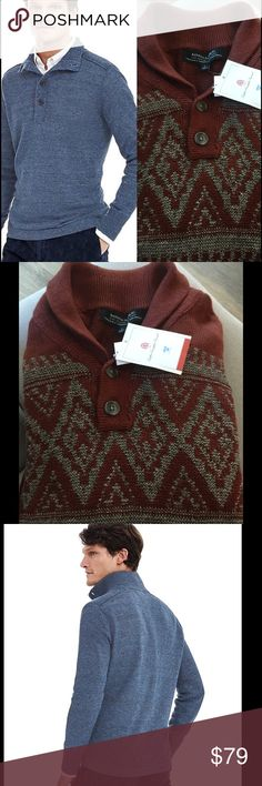 Banana Republic henley sweater Nwt Sz large Rust printed henley pullover sweater with Italian linen. Retail $128 Banana Republic Sweaters Crewneck