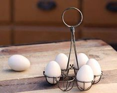 SOLD OUT - Artisan Made Vintage Style Farmhouse Aged Zinc Wire Egg Holder / Egg Basket