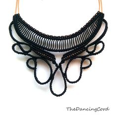 Macrame black necklace with leather - Black lace necklace -Media luna - Custom order - Tango Inspired- Micro macrame technique