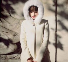Women'S Wool Blend Fur Hoodie Coats Sweety White Parkas Overcoats College Style