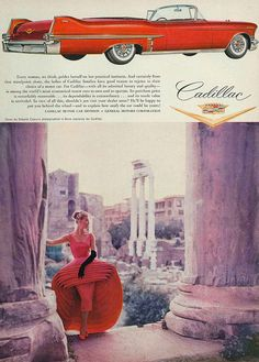 Red cocktail dress and red Cadillac, wow!  US Vogue, August 1957