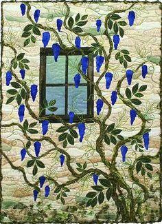 Art Quilt- Mixed Media Fabric Wall Art- Wisteria Window #2