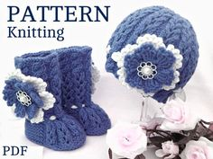 ............ PATTERN Only in English ............. Price is ONLY for the PATTERN and NOT for the finished items ! -------------------------------------------------------------------------------------- This listing for Knitting PATTERN Baby Set with Crochet Flowers They are knitted on two