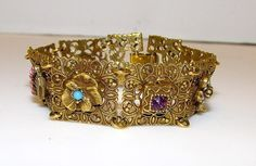 Vintage Goldette Victorian Revival Gold Tone Charm Filigree Statement Bracelet with Safety Chain