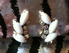 Juliana D Milkglass White Rhinestone Earrings.