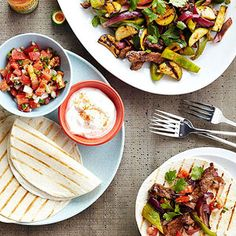 Fall Vegetable Fajitas | More healthy Mexican recipes: http://www.bhg.com/recipes/ethnic-food/mexican/heart-healthy-mexican-recipes/#page=2 #myplate