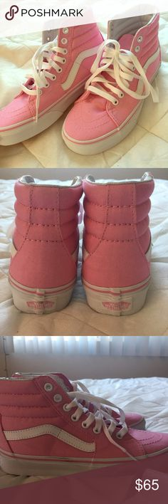 Brand new pink old school vans high tops Brand new with tags! Size women's 6. Best for 6.5.....never even tried on. Canvas and a cute bright pink! No trades Vans Shoes