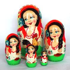 Set of Assorted Wood Dolls Russian Girls Christmas Wooden Ornaments