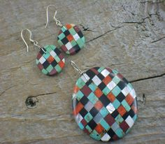 Native American earrings and pendant with mosaic stone inlays