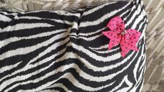 Zebra Decorative Pillow with Pink Bow by ZeeesCloset on Etsy, $10.00