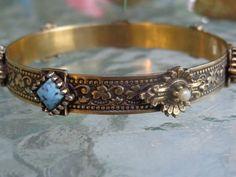 SOLD VINTAGE DESIGNER Florenza Victorian Revival Glass Coral Turqouise Pearl Bracelet